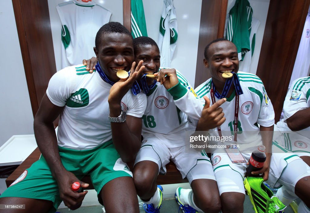 Nigerian players celebrate victory after beating Mexico 3-0 during the FIFA U-17 World Cup UAE 2013 Final between Nigeria and Mexico at the Mohamed Bin Zayed Stadium on November 8, 2013 in Abu Dhabi, United Arab Emirates.