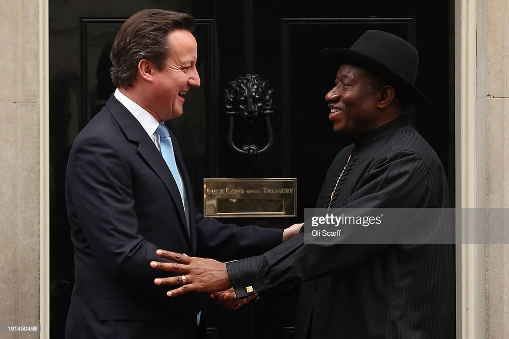 Nigerian President <a gi-track='captionPersonalityLinkClicked' href=/galleries/search?phrase=Goodluck+Jonathan&family=editorial&specificpeople=4124968 ng-click='$event.stopPropagation()'>Goodluck Jonathan</a> (R) is welcomed to Downing Street by British Prime Minister <a gi-track='captionPersonalityLinkClicked' href=/galleries/search?phrase=David+Cameron+-+Politicus&family=editorial&specificpeople=227076 ng-click='$event.stopPropagation()'>David Cameron</a> on February 11, 2013 in London, England. Discussions between the two leaders are expected to focus on expansion of trade and economic relations between Nigeria and Britain as well as greater cooperation on combating terrorism. Mr Jonathan's visit comes a day after Nigeria victory in the Afican Cup of Nations (AFCON) final against Burkina Faso.