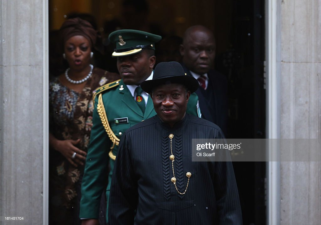 Nigerian President <a gi-track='captionPersonalityLinkClicked' href=/galleries/search?phrase=Goodluck+Jonathan&family=editorial&specificpeople=4124968 ng-click='$event.stopPropagation()'>Goodluck Jonathan</a> (C) leaves Number 10 Downing Street after meeting with British Prime Minister David Cameron on February 11, 2013 in London, England. Discussions between the two leaders are expected to have focused on expansion of trade and economic relations between Nigeria and Britain as well as greater cooperation on combating terrorism. Mr Jonathan's visit comes a day after Nigeria victory in the Afican Cup of Nations (AFCON) final against Burkina Faso