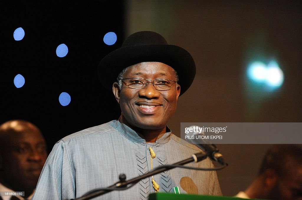 Nigerian President Goodluck Jonathan speaks during the presidential banquet in honour of the national football team, winner of the 2013 African Cup of Nations team, in Abuja February 12, 2013. The newly crowned African champions Nigerian Super Eagles arrives in Abuja to a warm reception by fans and government officials after defeating Burkina Faso to win the 2013 African Cup of Nations in South Africa.