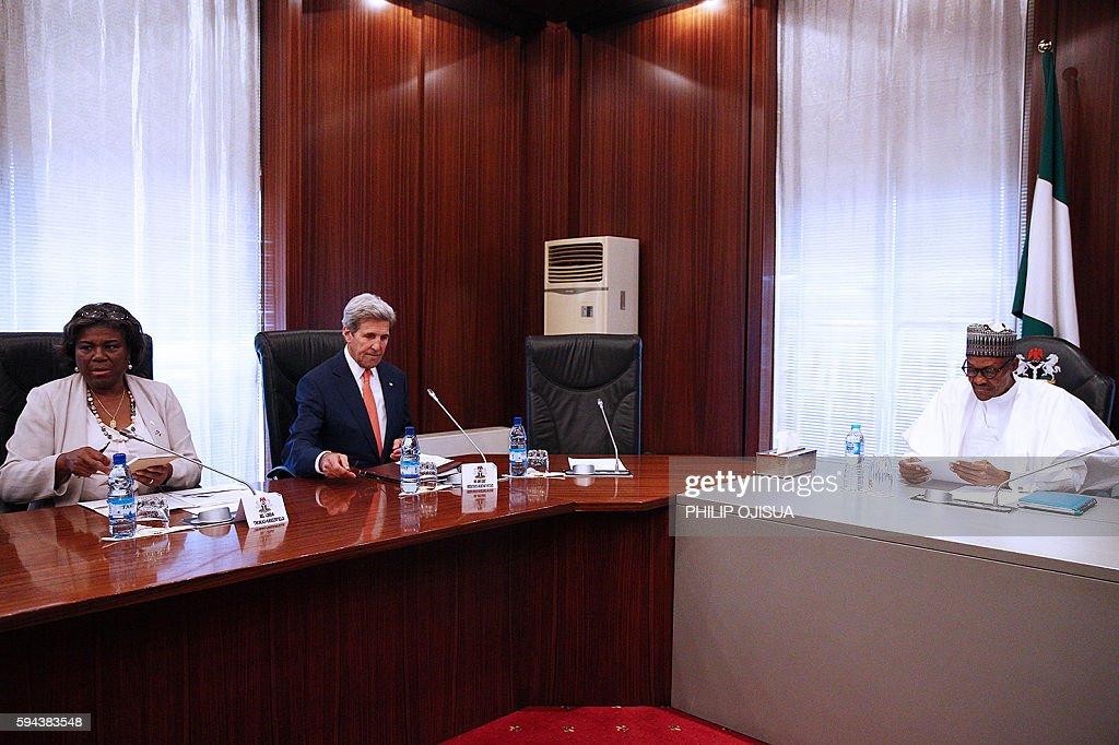 Nigerian President Muhammadu Buhari meets US Secretary of State John Kerry at the Presidential villa in the Nigerian capital of Abuja on August 23 as...