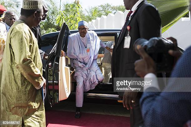 Nigerian President Muhammed Buhari arrives to attend a meeting to find a solution to political crisis after Gambian Presidential Elections in Banjul...