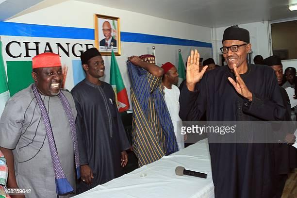 Nigerian presidentelect Muhammadu Buhari gestures in Abuja on April 1 2015 Nigeria's new presidentelect Muhammadu Buhari hailed polls that will lead...