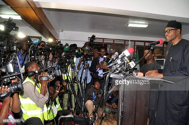 Nigerian presidentelect Muhammadu Buhari reads his acceptance speech in Abuja on April 1 2015 Nigeria's presidentelect Muhammadu Buhari praised the...