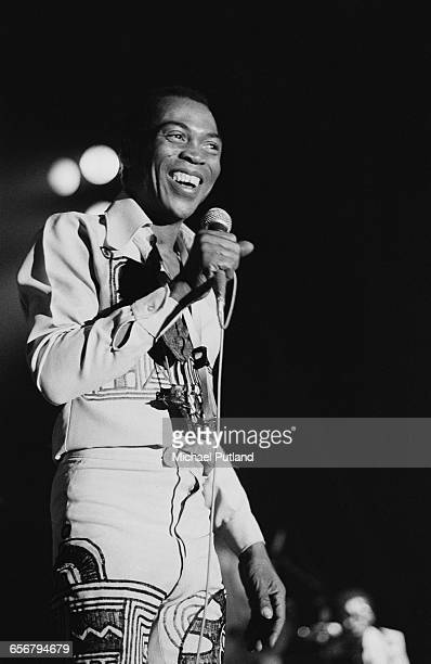 Nigerian singer composer and musician Fela Kuti performing on stage Paris 1981