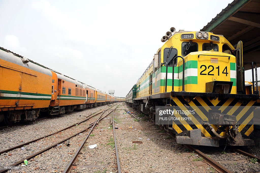 Nigerian train at Lagos Terminus on February 8, 2013. The rejuvenated Nigerian Railway Corporation has commenced operation of mass transit on the Lagos-Kano route, Nigeria's major commercial cities. The state-owned corporation which went into bankruptcy during the last 20 years due to lack of maintenance of infrastructure and high numbers of employees also began haulage of petroleum products from Lagos to the Northern part of the country. Earlier last year, the Railway Corporation had acquired 20 pressurised tank wagons as it prepared to commence the fuel haulage. The 20 wagons have the capacity to lift 900,000 litres of petroleum products, the equivalent of 27 road tankers. AFP PHOTO/PIUS UTOMI EKPEI.