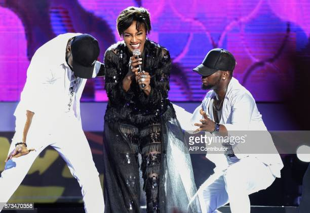 Nigerianbased singer Seyi Shay performs her hit song 'Yolo Yolo' during the All Africa Music Awards in Lagos November 12 2017 Producer of the Year DJ...