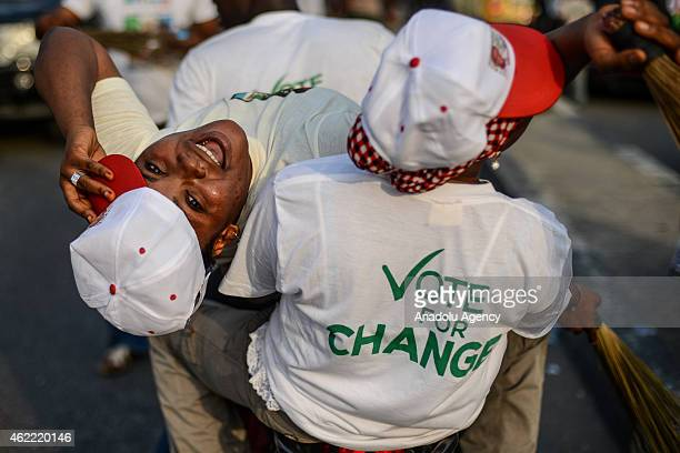 Nigerians gather to support presidential candidate Muhammadu Buhari ahead of the Nigerian presidential elections which will be February 14 in Lagos...