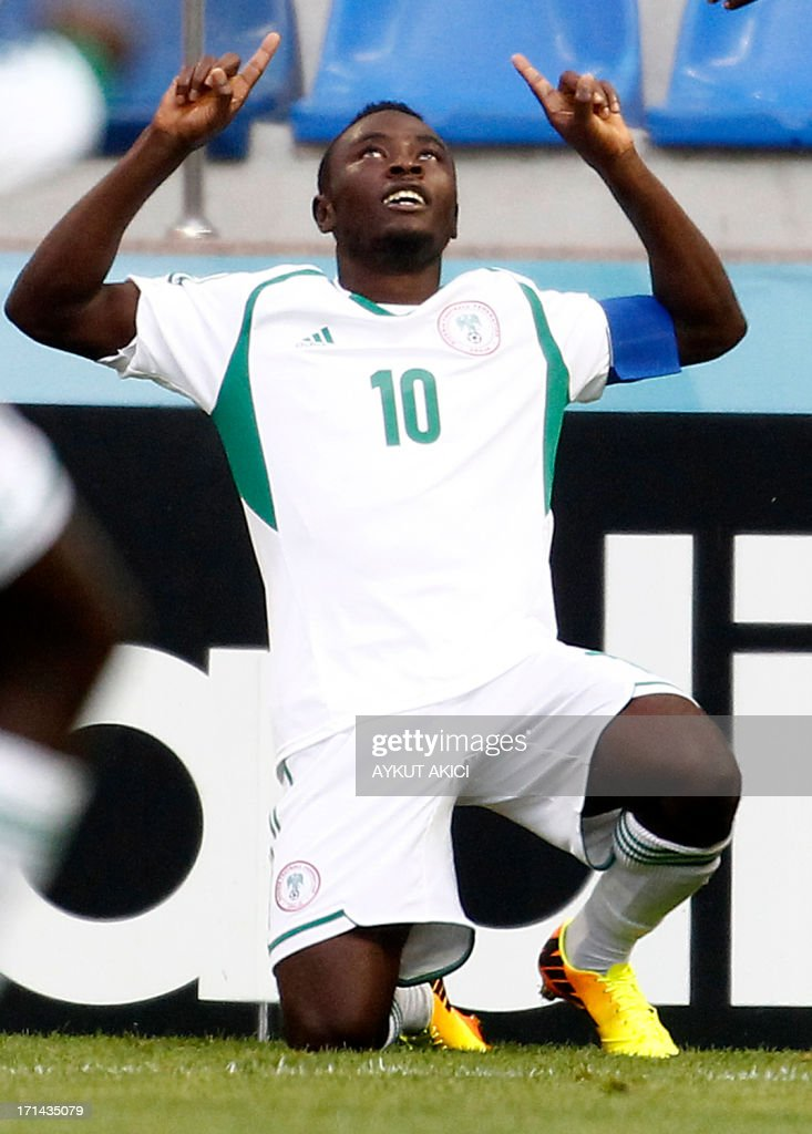 Nigeria's Abdul Ajagun celebrates after scoring on June 24, 2013 during a group stage football match between Cuba and Nigeria at the FIFA Under 20 World Cup at the Kadir Has Stadium in Kayseri. USE