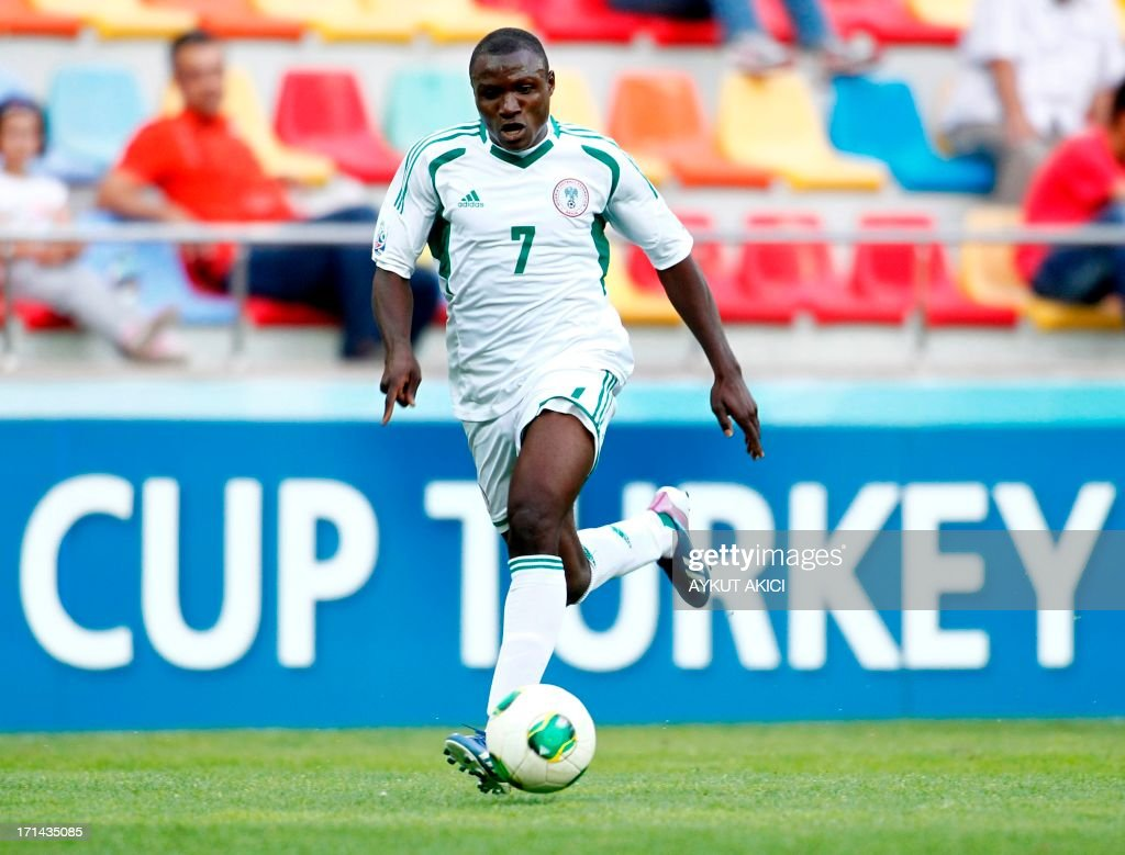 Nigeria's Abdul Ajagun controls the ball on June 24, 2013 during a group stage football match between Cuba and Nigeria at the FIFA Under 20 World Cup at the Kadir Has Stadium in Kayseri. USE