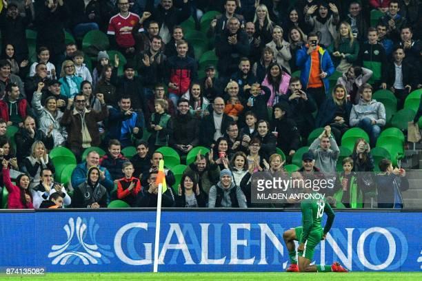 Nigeria's Alexander Iwobi celebrates after scoring a goal during an international friendly football match between Argentina and Nigeria in Krasnodar...