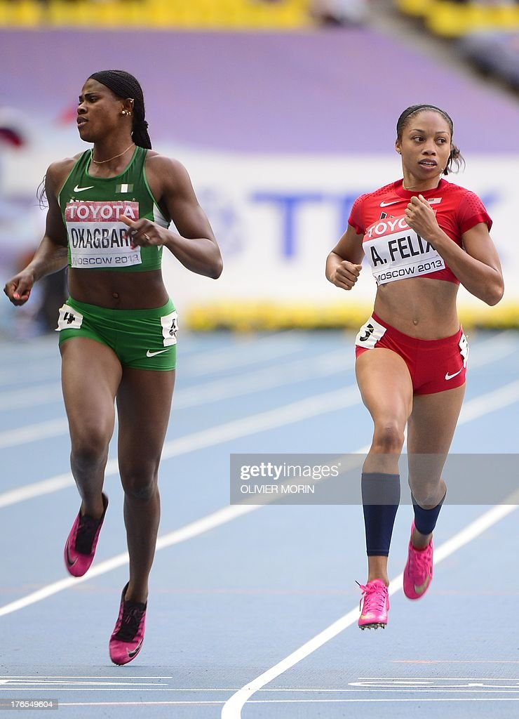 Nigeria's Blessing Okagbare (L) and US Allyson Felix compete during the women's 200 metres semi-final the 2013 IAAF World Championships at the Luzhniki stadium in Moscow on August 15, 2013. AFP PHOTO / OLIVIER MORIN