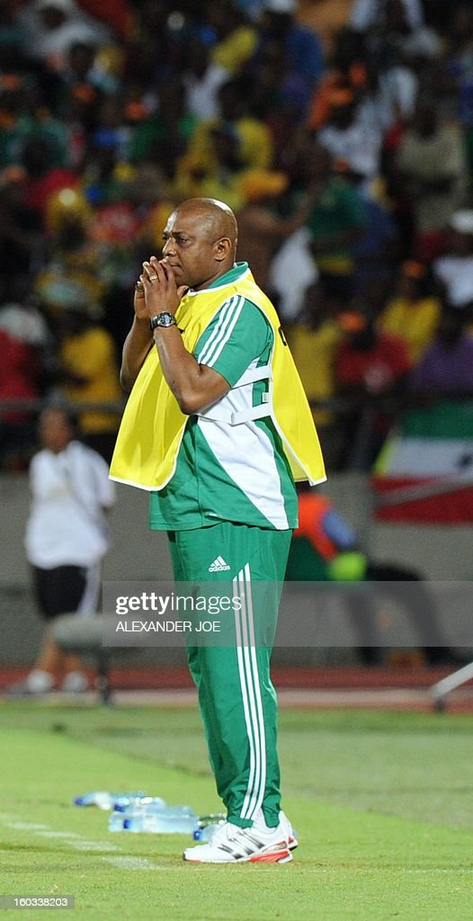 Nigeria's head coach Stephen Keshi watches on January 29, 2013 his team play against Ethiopia during a 2013 African Cup of Nations Group C football match at the Royal Bafokeng stadium in Rustenburg.