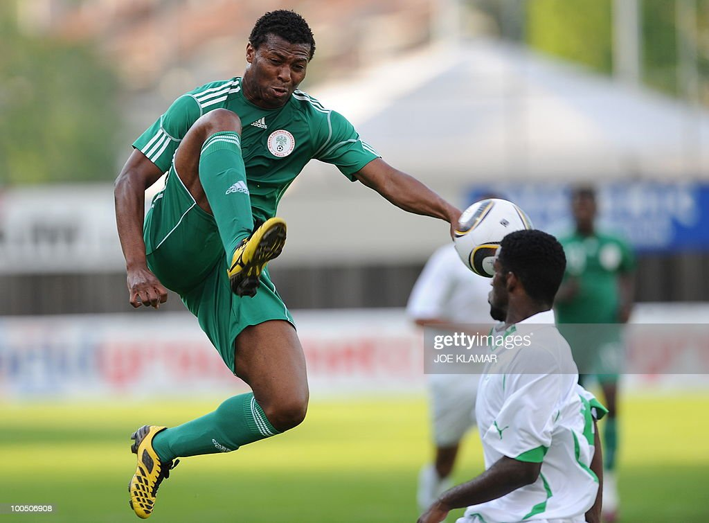Nigeria's Kalu Uche kicks a ball during their friendly match between Saudi Arabia and Nigeria in Alpen stadium in Tyrolian Wattens on May 25 2010 prior to the FIFA World Cup 2010 hosted by South Africa.