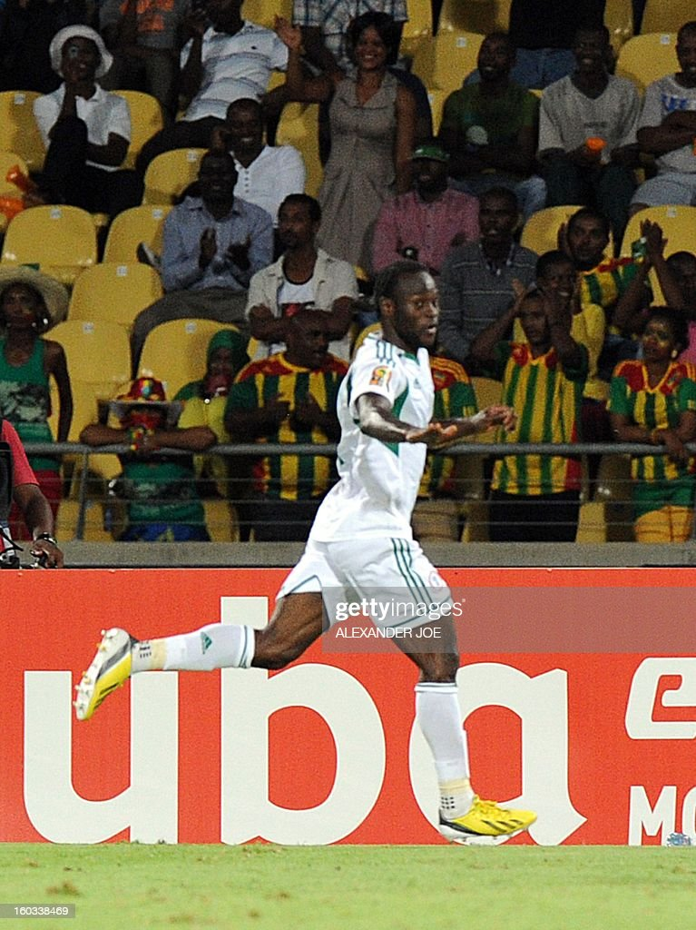 Nigeria's midfielder John Obi Mikel celebrates after scoring against Ethiopia on January 29, 2013 during a 2013 African Cup of Nations Group C football match at the Royal Bafokeng stadium in Rustenburg.