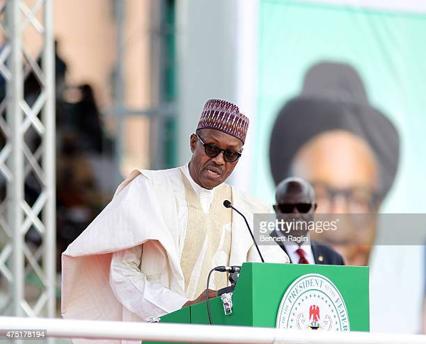 Nigeria's new President Muhammadu Buhari addresses the audience at his swearing in on May 29 2015 in Abuja Nigeria Buhari a former general in the...