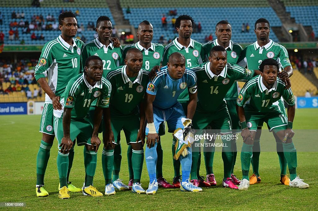 Nigeria's players line up prior to the African Cup of Nation 2013 quarter final football match Ivory Coast vs Nigeria, on February 3, 2013 in Rustenburg. (LtoR, up to bottom) Nigeria's midfielder John Obi Mikel, Nigeria's defender Kenneth Omeruo, Nigeria's forward Brown Ideye, Nigeria's defender Efe Ambrose, Nigeria's forward Emmanuel Emenike, Nigeria's defender Elderson Echiejile, Nigeria's midfielder Victor Moses, Nigeria's forward Sunday Mba, Nigeria's goalkeeper Vincent Enyeama, Nigeria's defender Godfrey Oboabona, Nigeria's midfielder Ogenyi Onazi. AFP PHOTO / BEN STANSALL