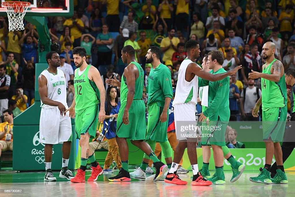 Nigeria's power forward Ike Diogu Brazil's power forward Guilherme Giovannoni Brazil's centre Cristiano Felicio Brazil's centre Augusto Lima and...
