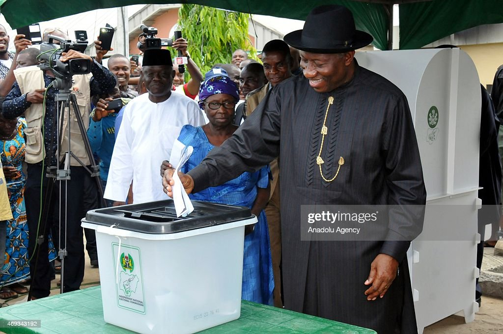 Nigeria's President <a gi-track='captionPersonalityLinkClicked' href=/galleries/search?phrase=Goodluck+Jonathan&family=editorial&specificpeople=4124968 ng-click='$event.stopPropagation()'>Goodluck Jonathan</a> casts his vote at Ward 13 Unit 39 Otuoke polling station to cast his votes during the Governorship election in Ogbia region of Bayelsa, Nigeria on April 11, 2015.