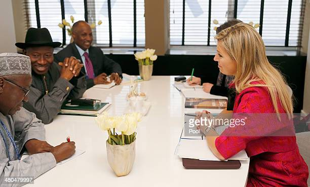Nigeria's President Goodluck Jonathan second from left meets Dutch queen Maxima on the last day of the 2014 Nuclear Security Summit on March 25 2014...