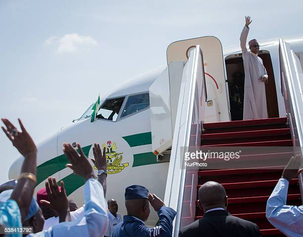 Nigeria's President Muhammadu Buhari departs Abuja for London on a 10day vacation at the Nnamdi Azikwke International Airport Abuja Nigeria on June 6...