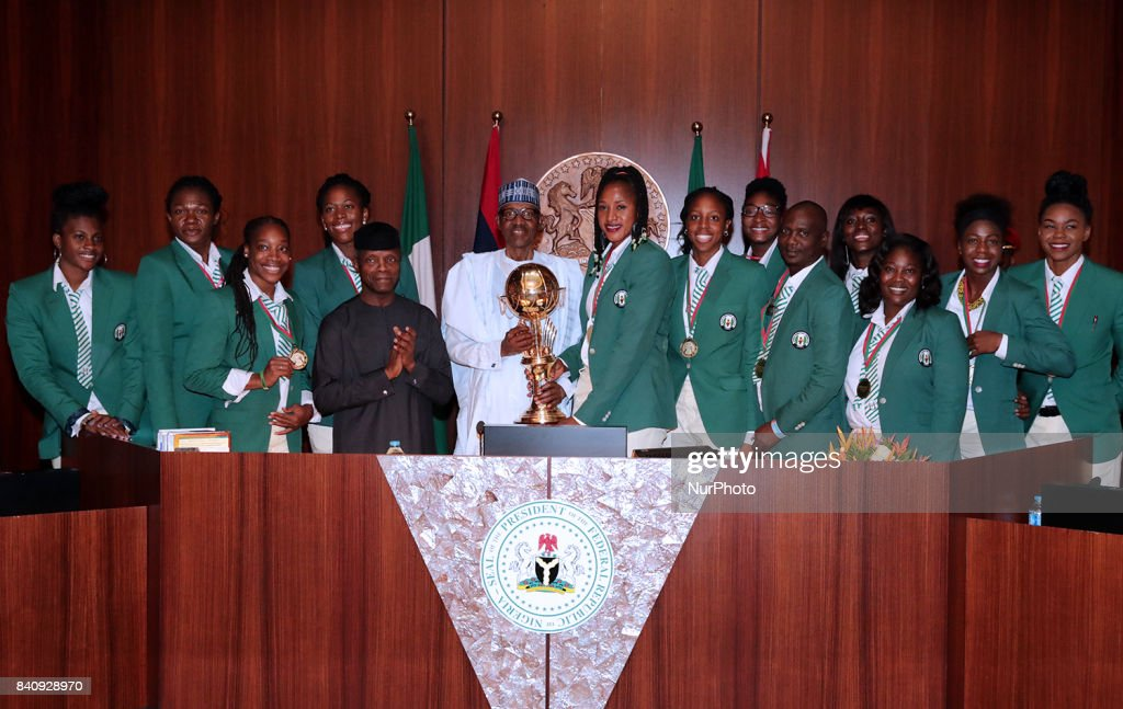 Nigeria's President receives Victorious African Basketball Champions