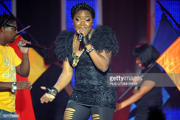 Nigeria's Sasha performs late on December 11 2010 after receiving the Best Female award at the MTV Africa Music Awards ceremony in Lagos The awards...