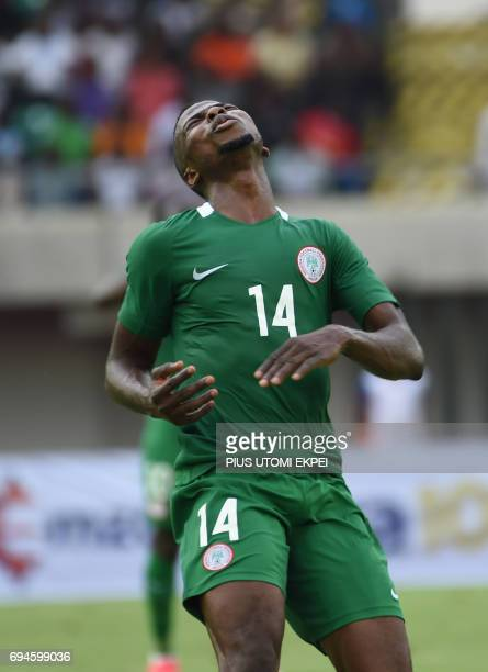 Nigeria's striker Kelechi Iheanacho reacts to missing a goal opportunity during the 2019 Africa Cup of Nations qualifying football match between...