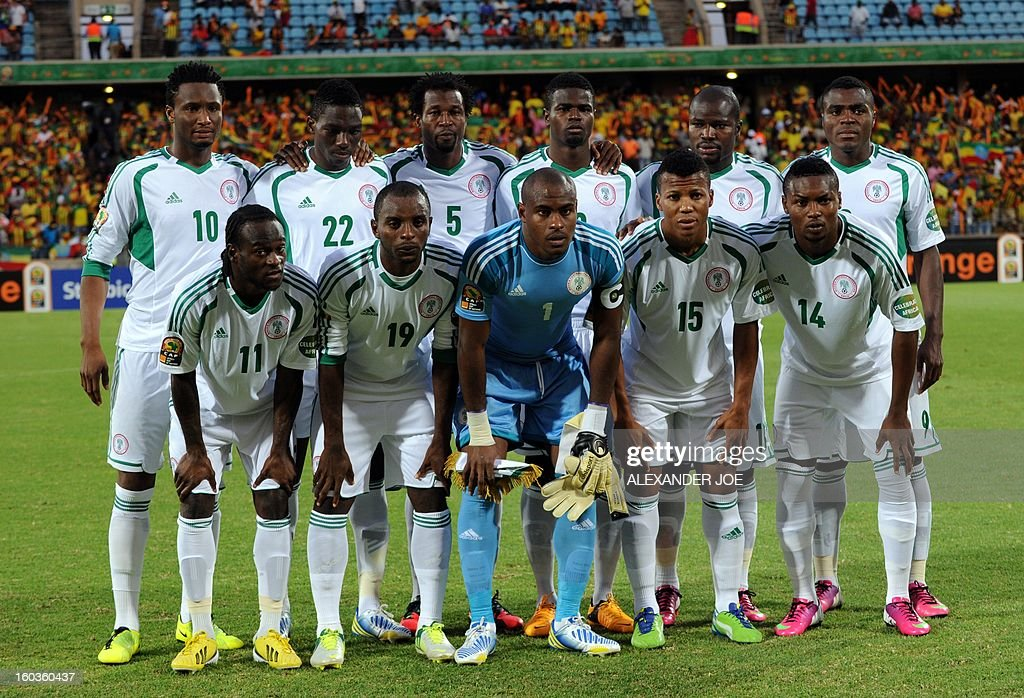 Nigeria's Team Photo Front Row: L-R: Midfielder Victor Moses, Forward Sunday Mba, Goalkeeper Vincent Enyeama, Forward Ikechukwu Uche, Defender Godfrey Oboabona. Back row L-R: Midfielder John Obi Mikel, Defender Kenneth Omeruo,Defender Efe Ambrose, Forward Emmanuel Emenike, Defender Elderson Echiejile, Forward Emmanuel Emenike, during a 2013 African Cup of Nations Group C match in Rustenburg on January 29, 2013 at Royal Bafokeng Stadium.