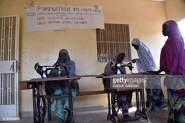 Nigerien women suffering of obstetric fistula learn how to sew during a training course at the health centre of the Dimol Non Governmental...