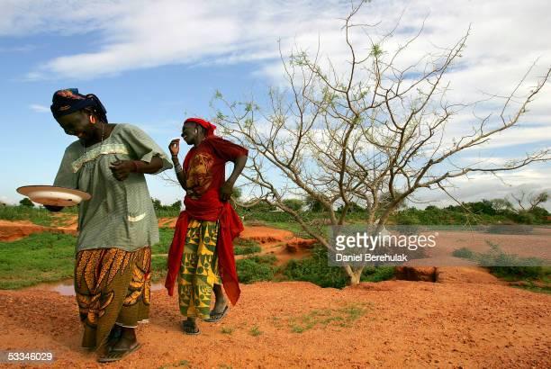 Nigerois women dance a traditional Rua Halihu or rain dance on August 9 2005 in the village of Sadongori Kolita near Maradi Nigeria Primitive farming...