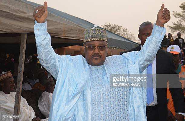 Niger's opposition politician former prime minister and candidate for the upcoming presidential elections Seyni Oumarou of the National Movement for...