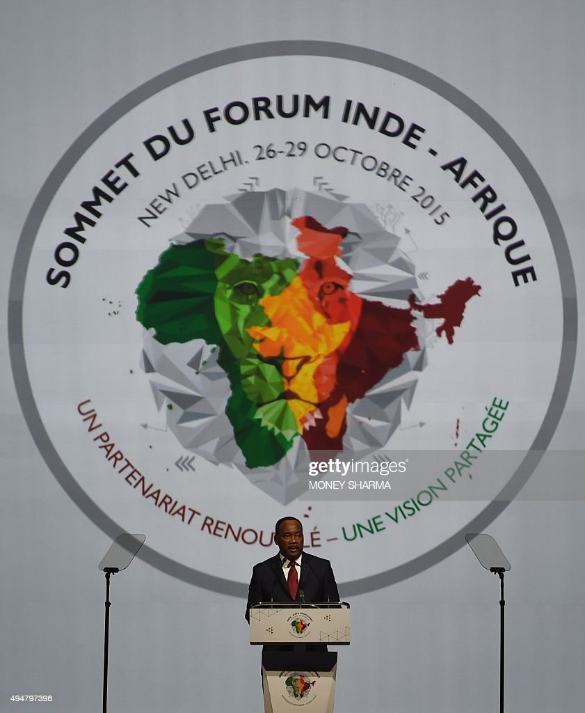 Niger's President Issoufou Mahamadou addresses delegates during The India-Africa Summit in New Delhi on October 29, 2015. India's Prime Minister Narendra Modi has called for a 'comprehensive and concrete' agreement on climate change in December, as he addressed African leaders at a major summit in New Delhi. Modi said no one had contributed less to global warming than India and Africa, warning that 'the excess of (the) few cannot become the burden of many'.