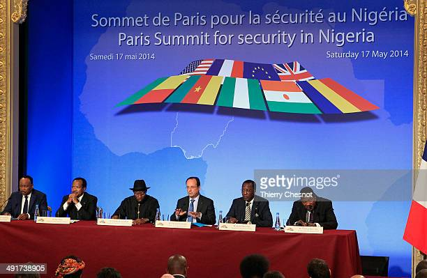Niger's president Mahamadou Issoufou Cameroon's president Paul Biya Nigeria's president Goodluck Jonathan French president Francois Hollande Chad's...