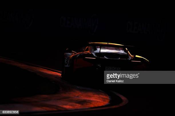 Night action during the 2017 Bathurst 12 hour race at Mount Panorama on February 5 2017 in Bathurst Australia