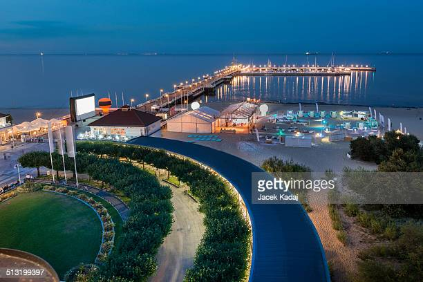 Night aerial view of pier in Sopot