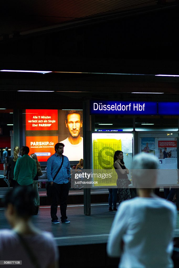Night at station Düsseldorf : Stock Photo