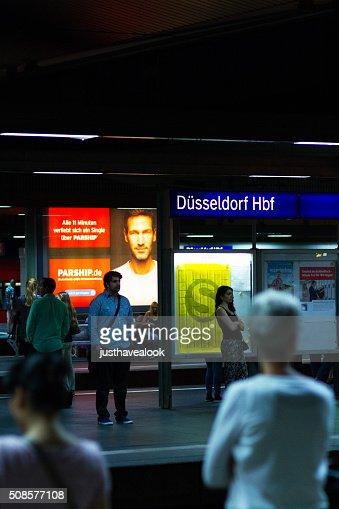 Night at station Düsseldorf : Stock Photo