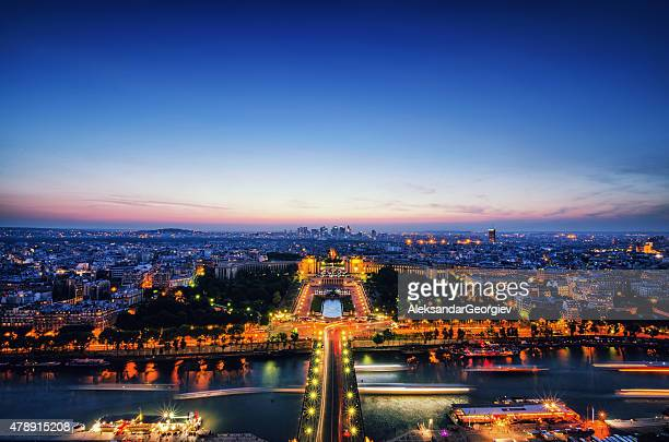 Night Bird View, Paris and Seine River from Eiffel Tower