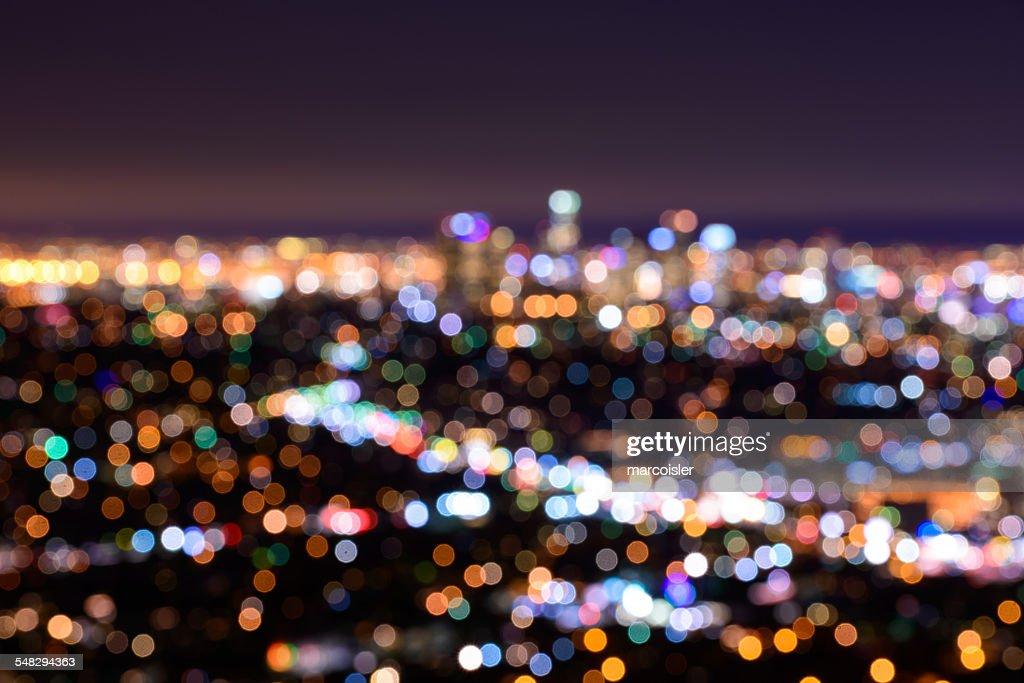 Night bokeh view of LA, California, USA