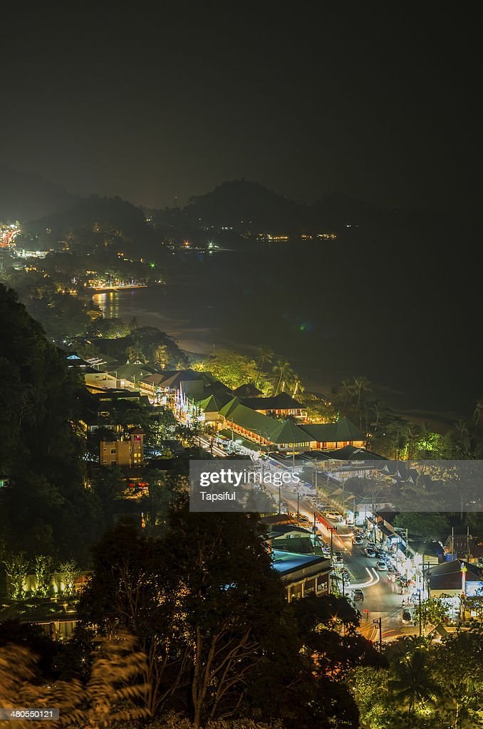 Night City View on beach in Thailand : Stock Photo