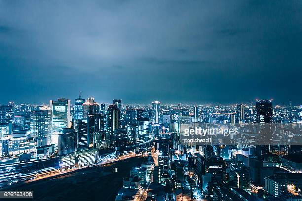 Night cityscape of Osaka, Japan