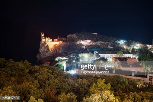 Noche de un paisaje de la ciudad, town Gaspra : Foto de stock