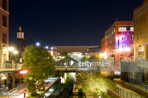 Night cityscape view of Bricktown in Oklahoma City
