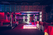 Night club interior with pole dance stage