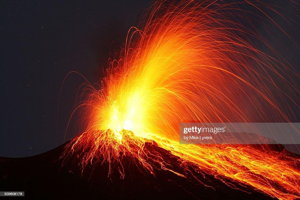 Night eruption Stromboli volcano
