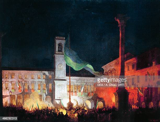 Night events in Piazza Maggiore for the annexation of Polesine to Italy painting by Giovanni Biasin oil on canvas5x55 cm Rovigo Town Hall Veneto Italy