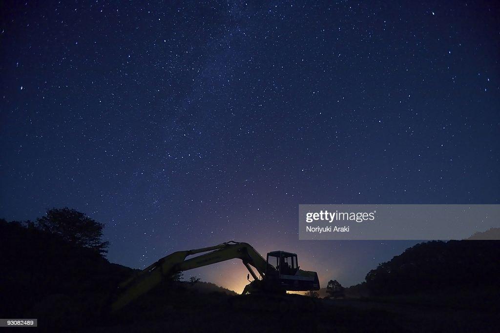 Night excavator : Stock Photo
