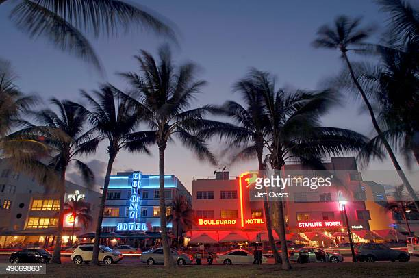 Night falls on the art deco hotels on Ocean Drive in South Beach Miami Beach Florida USA South Beach part of Miami Beach is famous for its art deco...