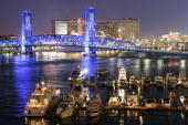 Night falls over downtown Jacksonville on February 4 2005 before Super Bowl XXXIX in Jacksonville Florida